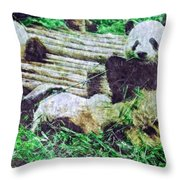 3722-panda -  Watercolor 2 Sl Throw Pillow