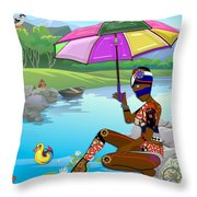 Girl By The Lake Throw Pillow