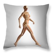 3d Rendering Of A Naked Woman Walking Throw Pillow