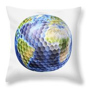 3d Rendering Of A Planet Earth Golf Throw Pillow