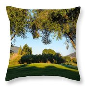3rd Green At Quilchena  Throw Pillow