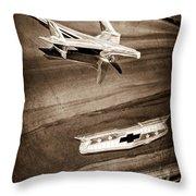 1955 Chevrolet Belair Hood Ornament Throw Pillow