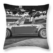 1984 Porsche 911 Carrera Cabriolet Slant Nose Bw Throw Pillow