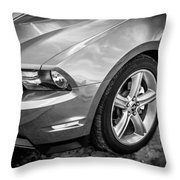 2010 Ford Mustang Convertible Bw Throw Pillow