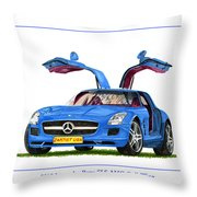 2010 Mercedes Benz S L S Gull-wing Throw Pillow