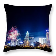 4th Of July Firework Over Charlotte Skyline Throw Pillow