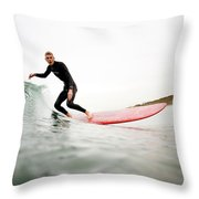 A Surfer Enjoys The Waves In Carlsbad Throw Pillow
