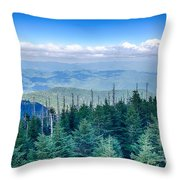 A Wide View Of The Great Smoky Mountains From The Top Of Clingma Throw Pillow