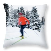 A Young Woman Cross-country Skiing Throw Pillow