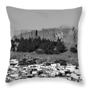 Acropolis And Village Of Lindos Throw Pillow