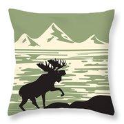 Alaska Denali National Park Poster Throw Pillow