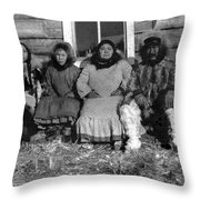 Alaska Eskimo Family Throw Pillow