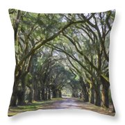 Allee Of Oaks Road Throw Pillow