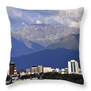 Anchorage Skyline Throw Pillow