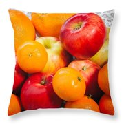 Apple Tangerine And Oranges Throw Pillow