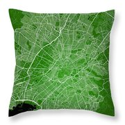 Athens Street Map - Athens Greece Road Map Art On Color Throw Pillow
