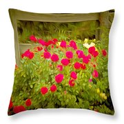 Fence Line Flowers Throw Pillow
