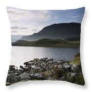 Beautiful Sunrise Mountain Landscape Reflected In Calm Lake Throw Pillow