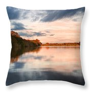 Beautiful Sunset Over Autumn Fall Lake With Crystal Clear Reflec Throw Pillow