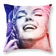 Blue And Red Beauty Throw Pillow by Atiketta Sangasaeng