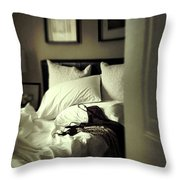 Bedroom Scene With Under Garments On Bed Throw Pillow