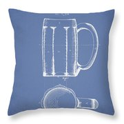 Beer Mug Patent From 1876 - Light Blue Throw Pillow