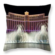 Bellagio Hotel And Casino At Night Throw Pillow