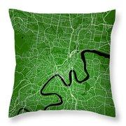Brisbane Street Map - Brisbane Australia Road Map Art On Colored Throw Pillow