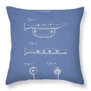 Bugle Call Instrument Patent Drawing From 1939 - Light Blue Throw Pillow