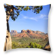 Cathedral Rock Framed By Juniper In Sedona Arizona Throw Pillow