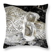 Celtic Skulls Symbolic Pathway To The Other World Throw Pillow