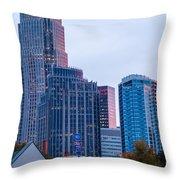 Charlotte City Skyline At Night Throw Pillow