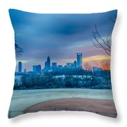 Charlotte The Queen City Skyline At Sunrise Throw Pillow