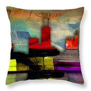 Chicago Skyline Watercolor Throw Pillow