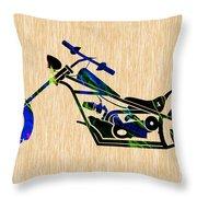 Chopper Motorcycle Throw Pillow