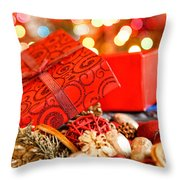 Christmas Box Throw Pillow