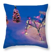 Christmas Lights On Trees And Lawn Chair Throw Pillow