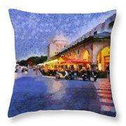 City Of Rhodes During Dusk Time Throw Pillow