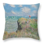Cliff Walk At Pourville Throw Pillow