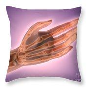 Conceptual Image Of Bones In Human Hand Throw Pillow
