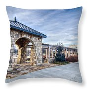 Cultured Stone Terrace Trellis Details Near Park In A City  Throw Pillow