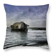 Digital Oil Painting - A Houseboat Moving Placidly Through A Coastal Lagoon In Alleppey Throw Pillow
