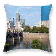 Downtown Indianpolis Indiana Skyline Throw Pillow