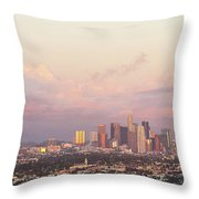 Elevated View Of City At Dusk, Downtown Throw Pillow