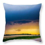 Elm Creek Nebraska Supercell Throw Pillow