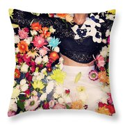 Fashion Model Posing With Flowers Throw Pillow