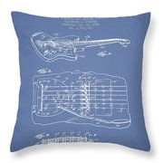 Fender Floating Tremolo Patent Drawing From 1961 - Light Blue Throw Pillow