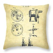 Fishing Reel Patent From 1896 Throw Pillow