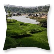 Hampi Landscape Throw Pillow