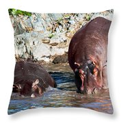 Hippopotamus In River. Serengeti. Tanzania Throw Pillow